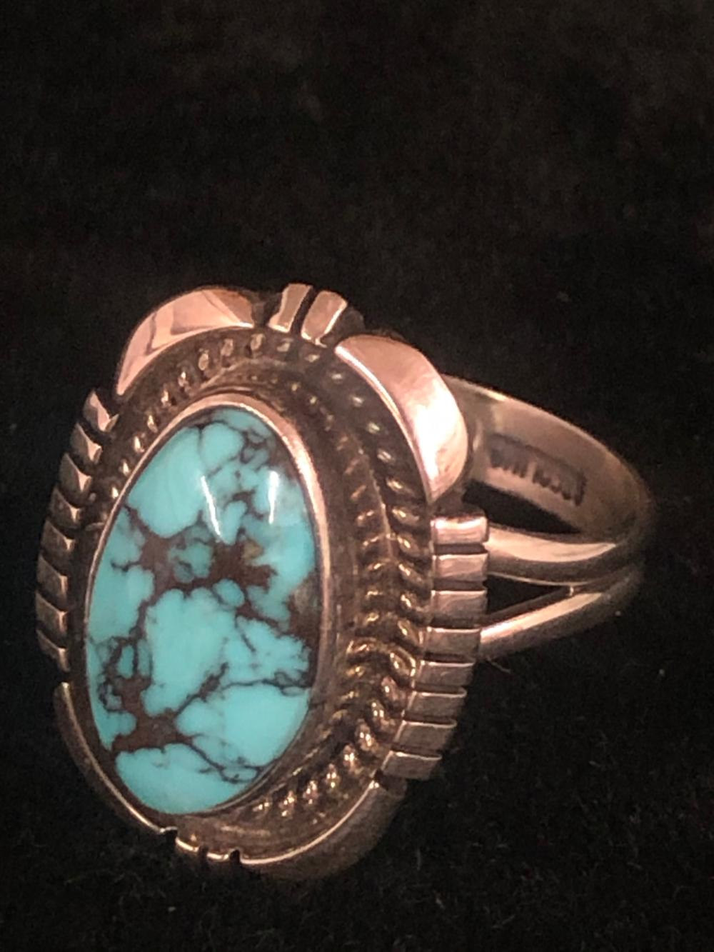 Candellaria turquoise stone sterling silver ring