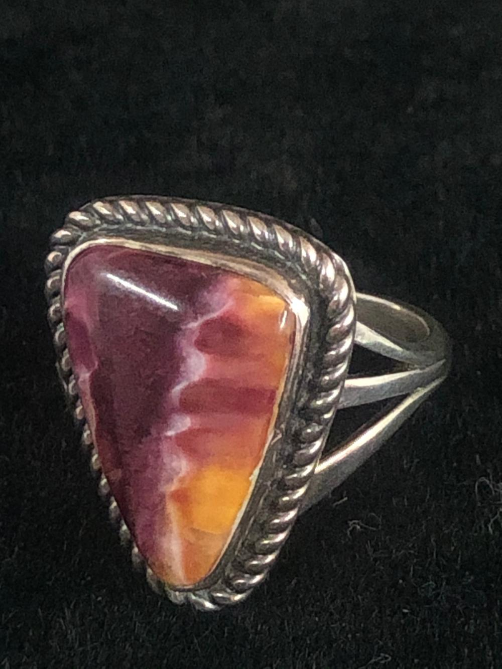 Unique purple spiny oyster sterling silver ring