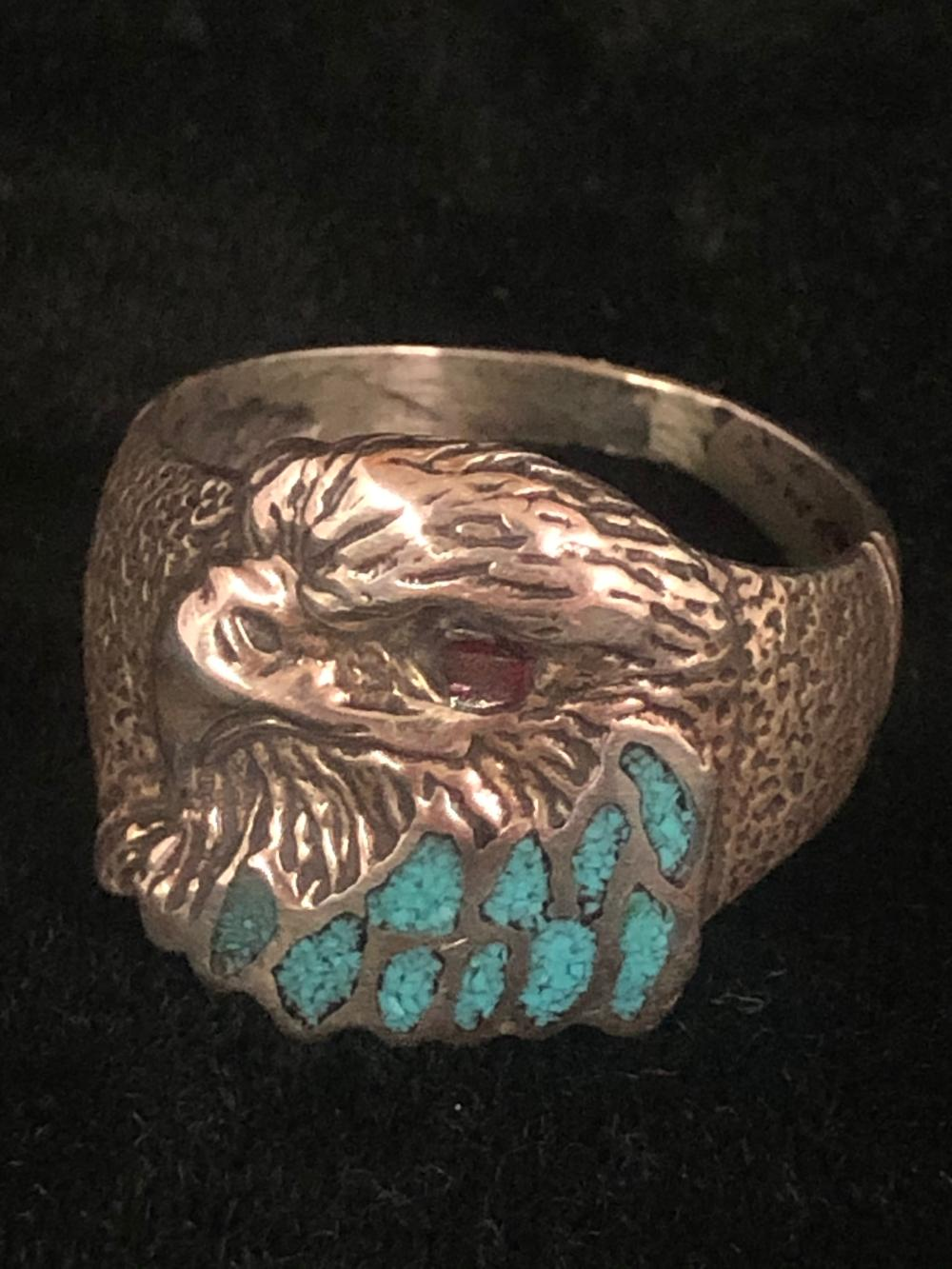 Eagle head with turquoise chip inlay sterling silver ring