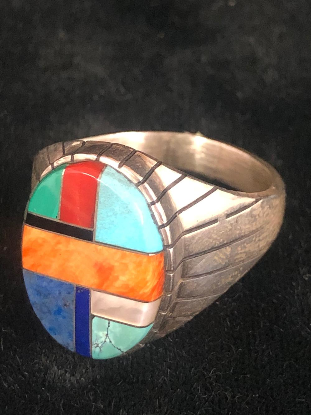 Multiple stone inlay sterling silver ring