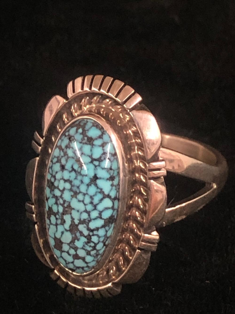 #8 mine turquoise stone sterling silver ring
