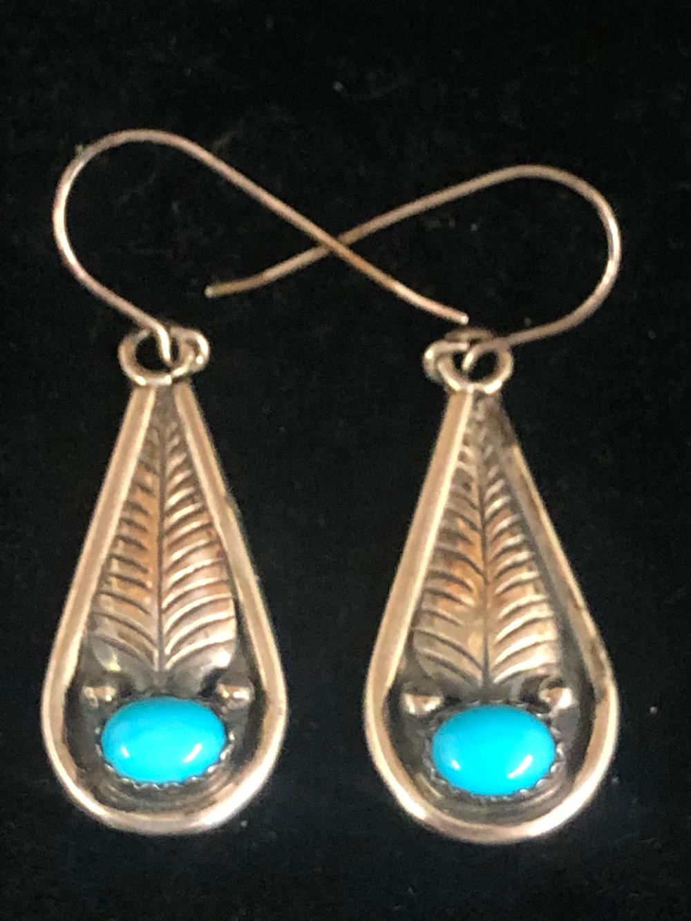 Turquoise with feather design sterling feather earrings