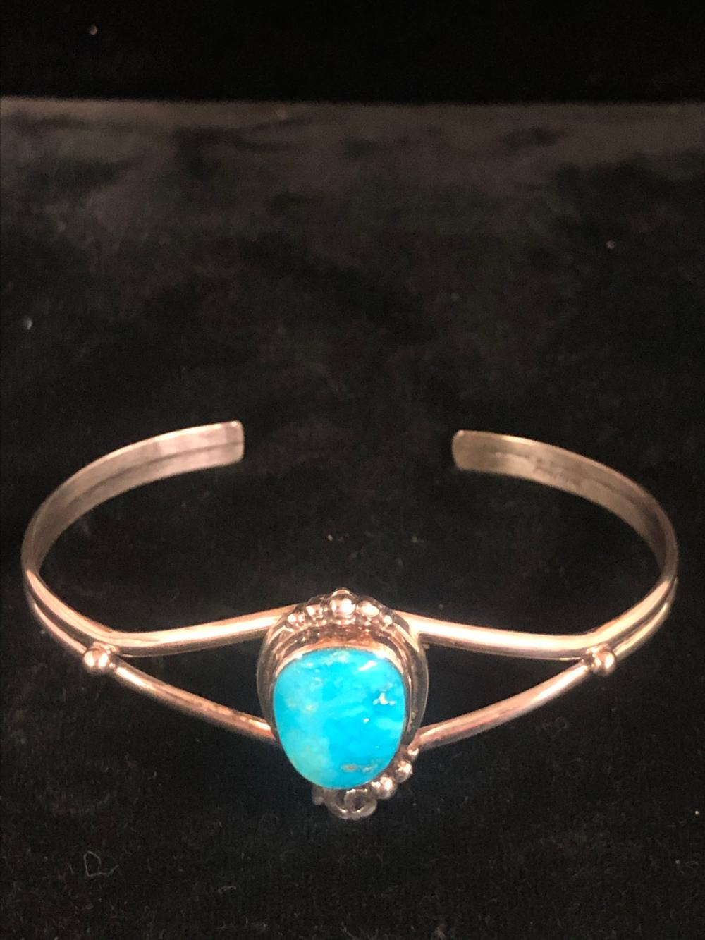 Turquoise stone sterling silver cuff bracelet - kingman turquoise