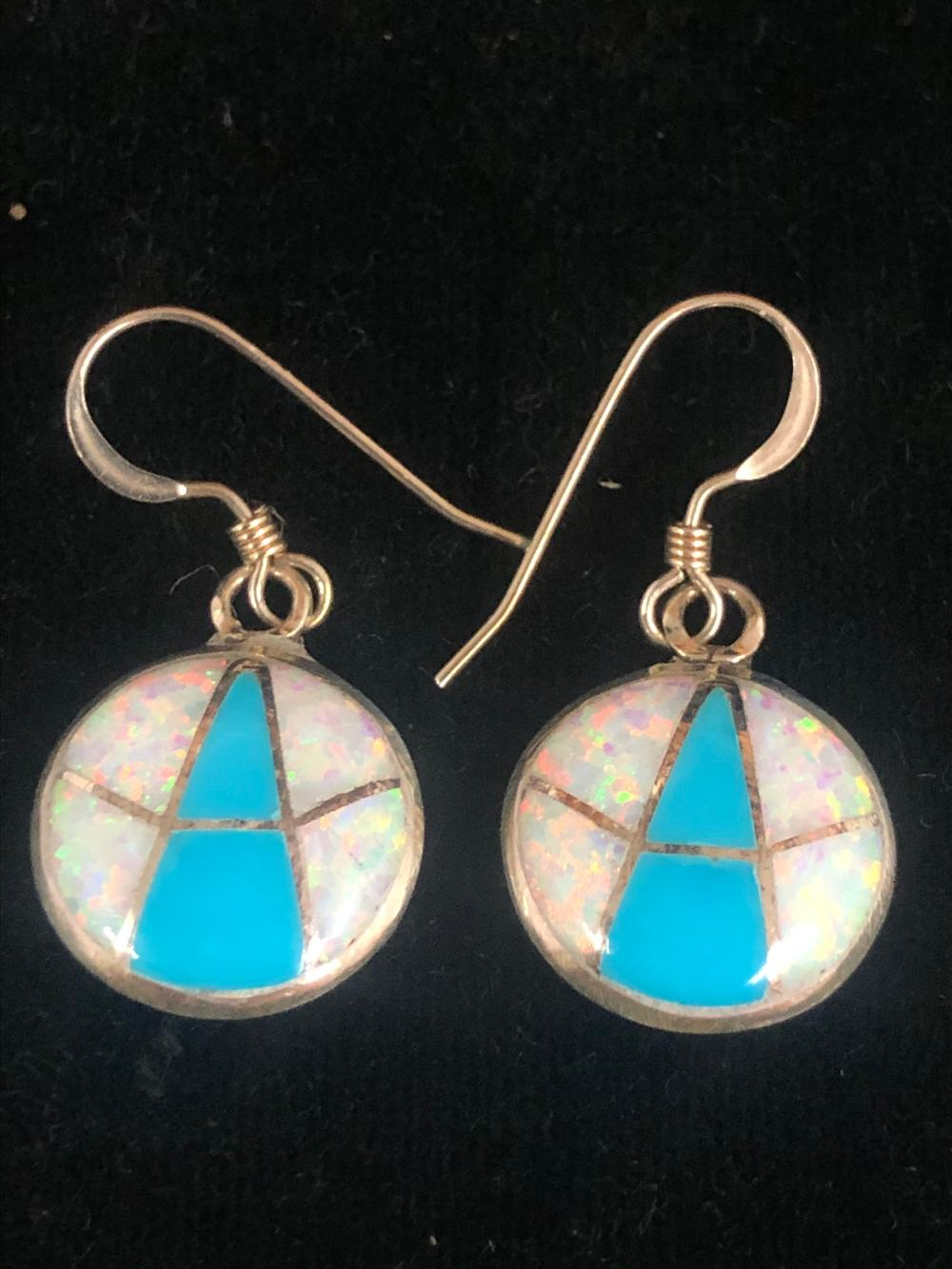 Turquoise and cultured opal inlay round sterling silver earrings