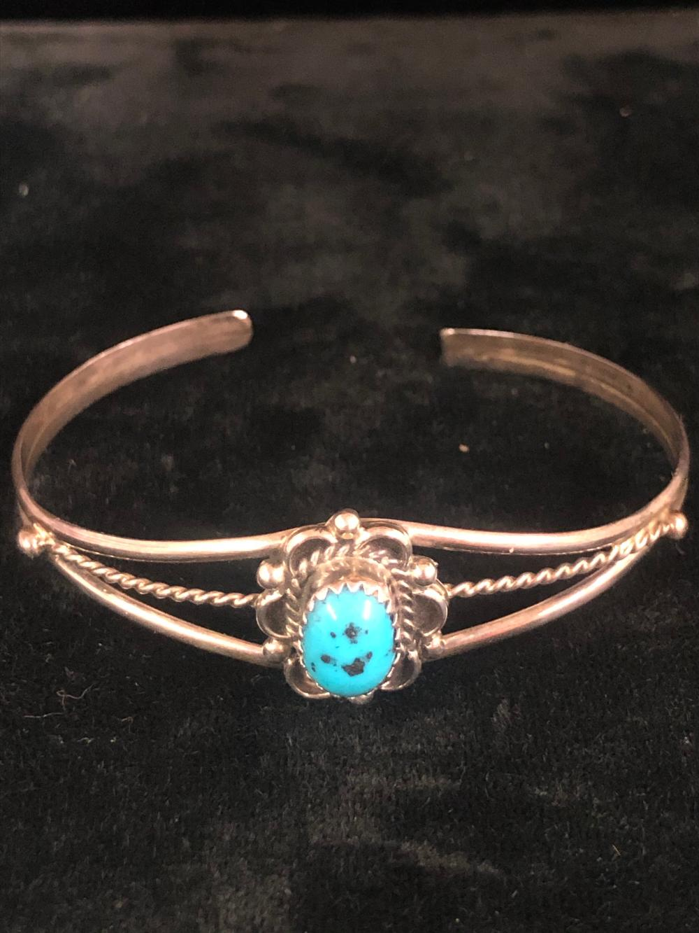 Turquoise with flower design sterling silver cuff bracelet