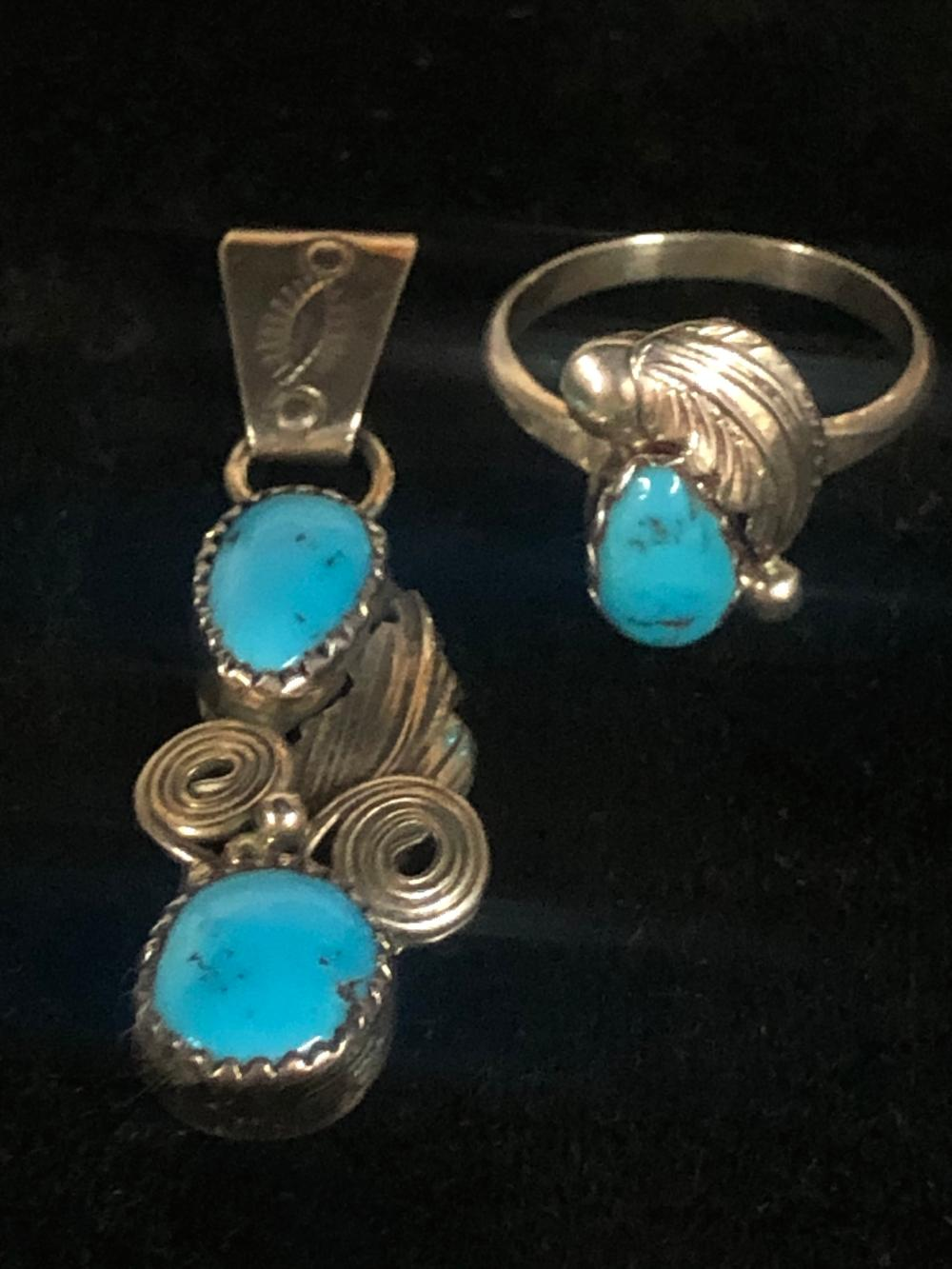 Turquoise ring and pendant 'set'