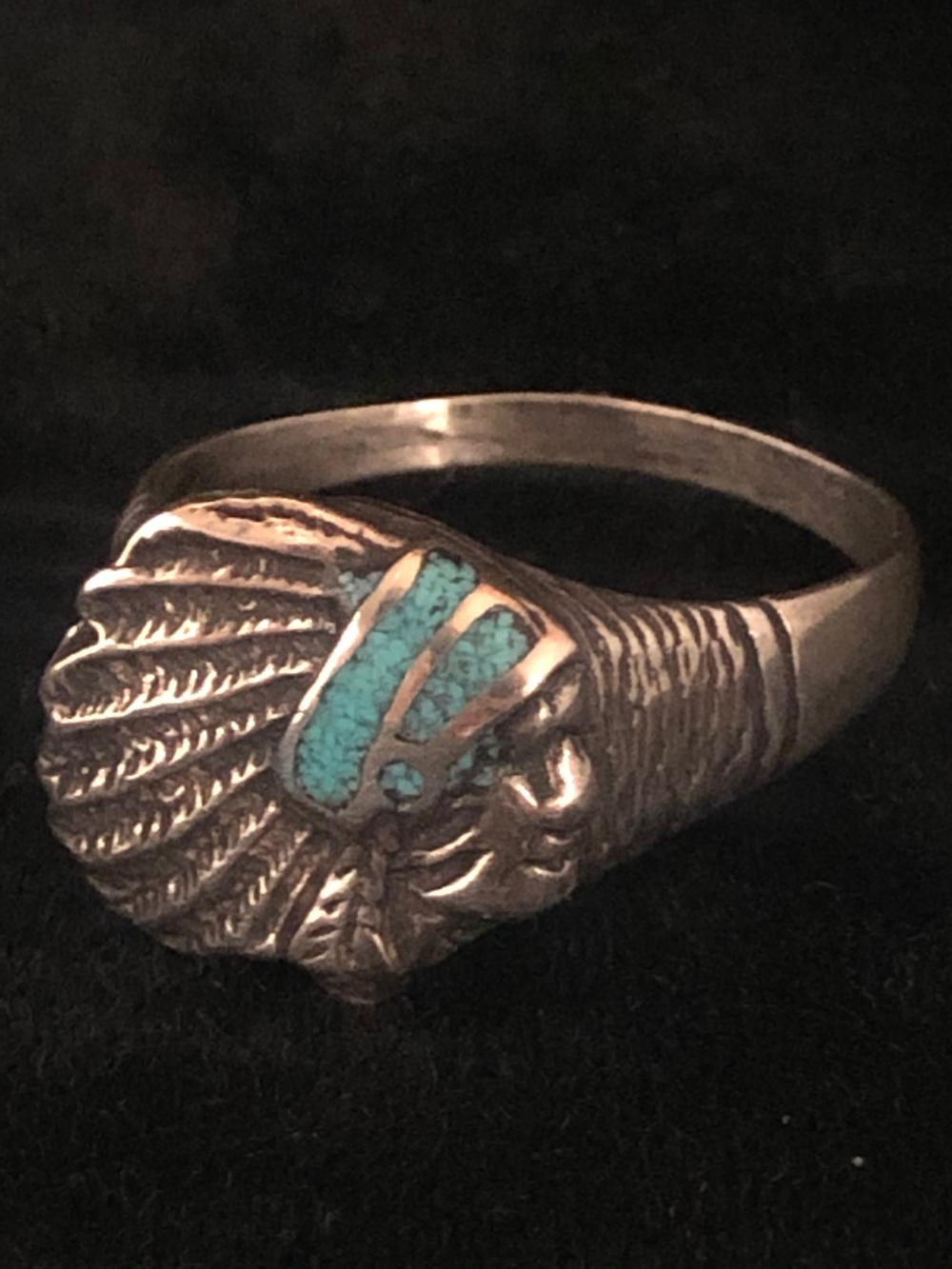 Native American face with turquoise chip inlay sterling silver ring
