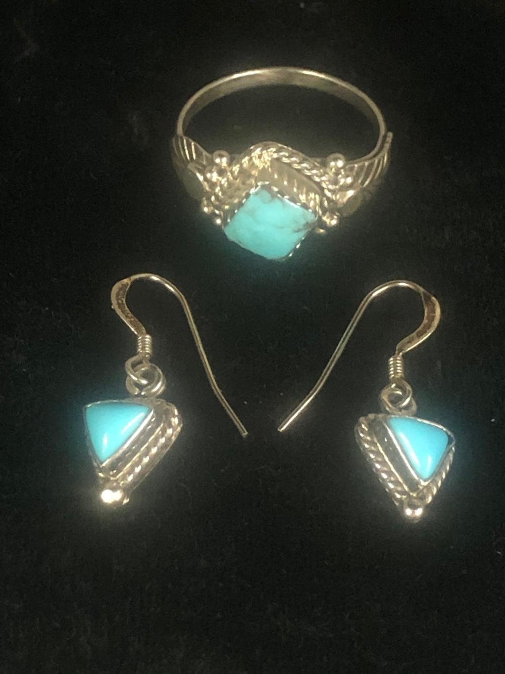 Turquoise earring and ring 'set'