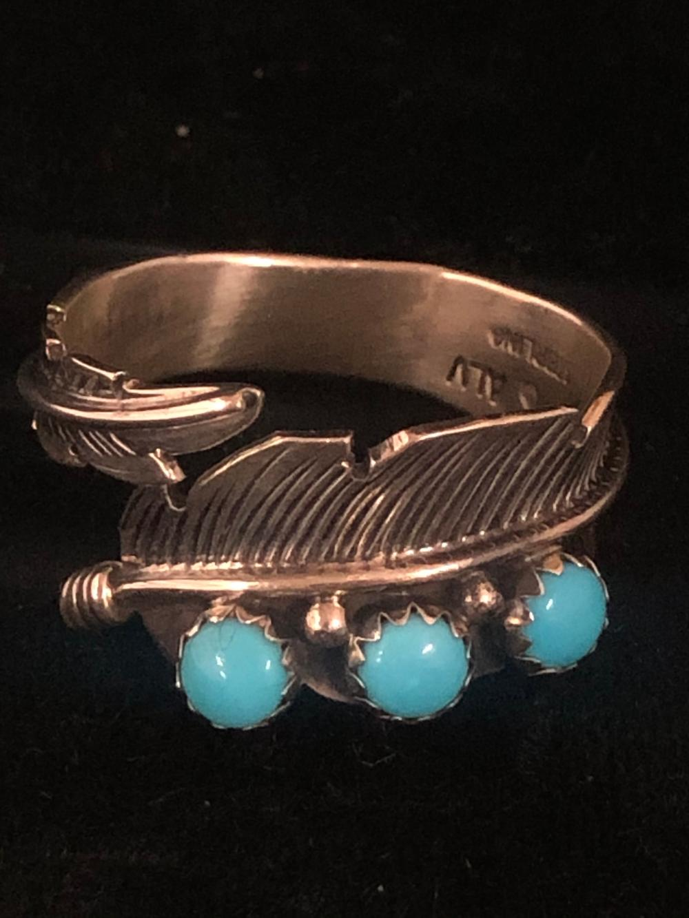 Triple turquoise feather sterling silver wrap ring