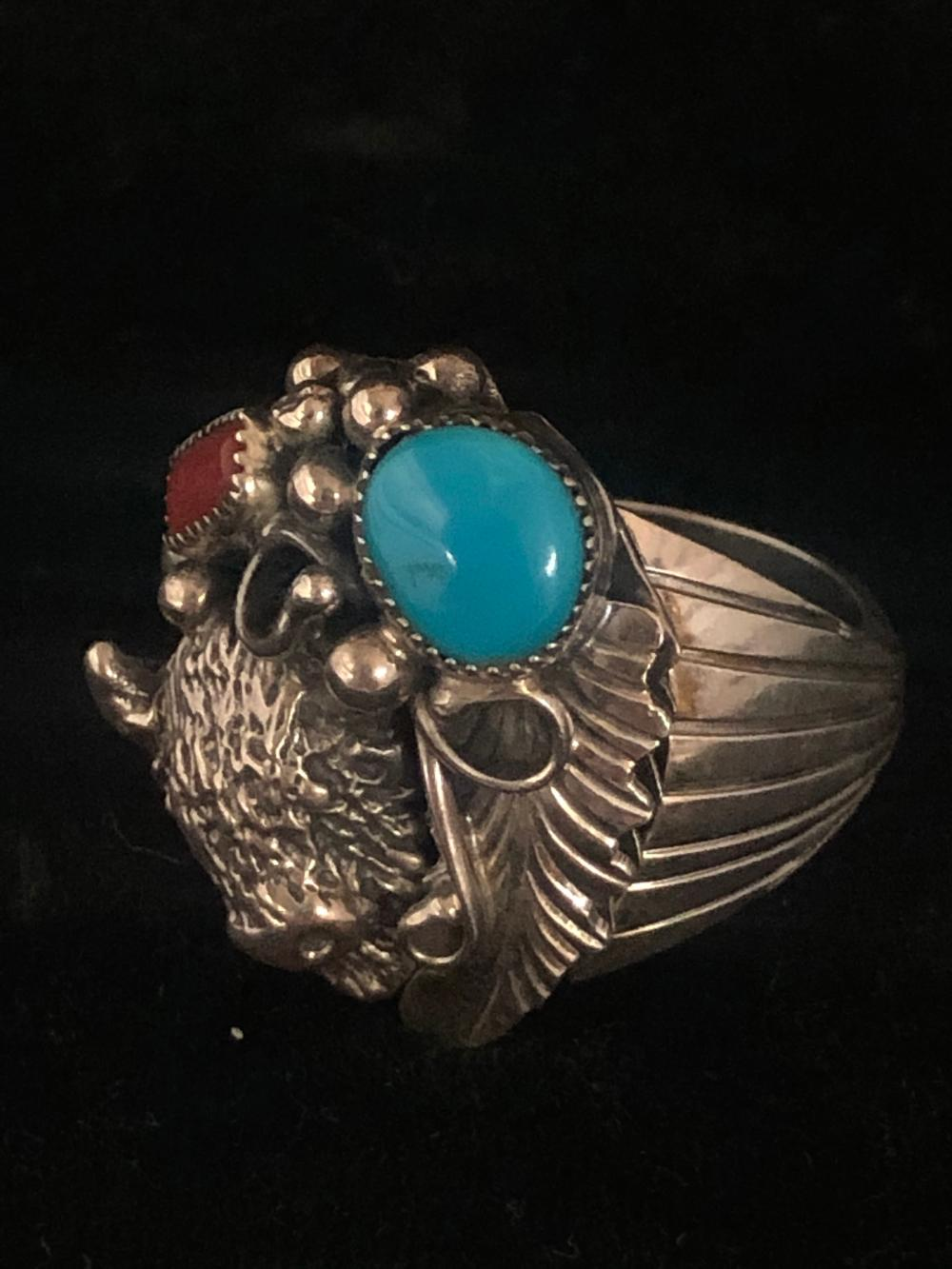 Turquoise and coral buffalo face sterling silver ring