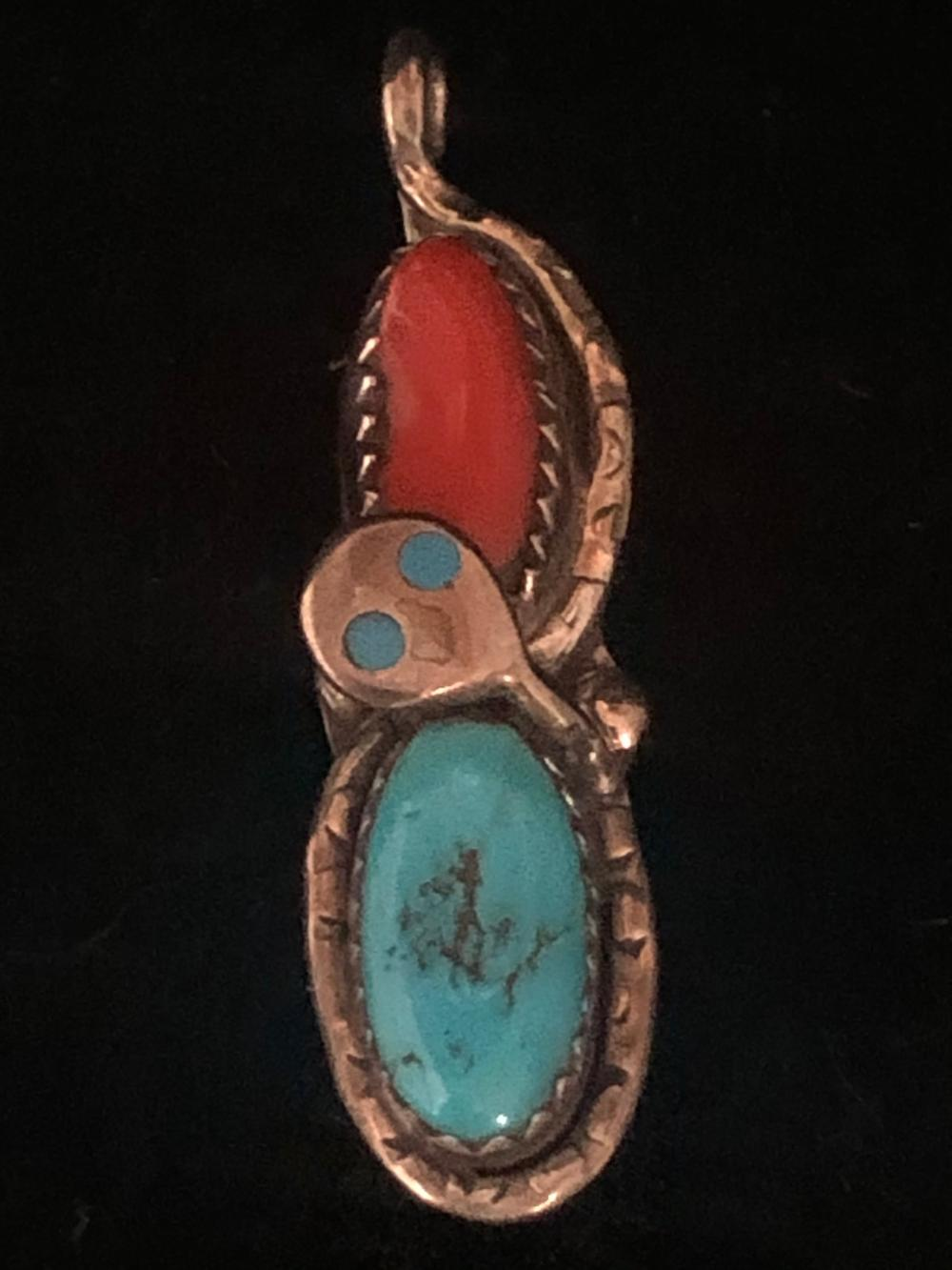 Effie c. turquoise and coral pendant zuni