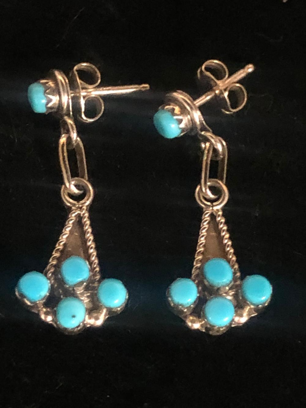 Turquoise inlay sterling silver earrings