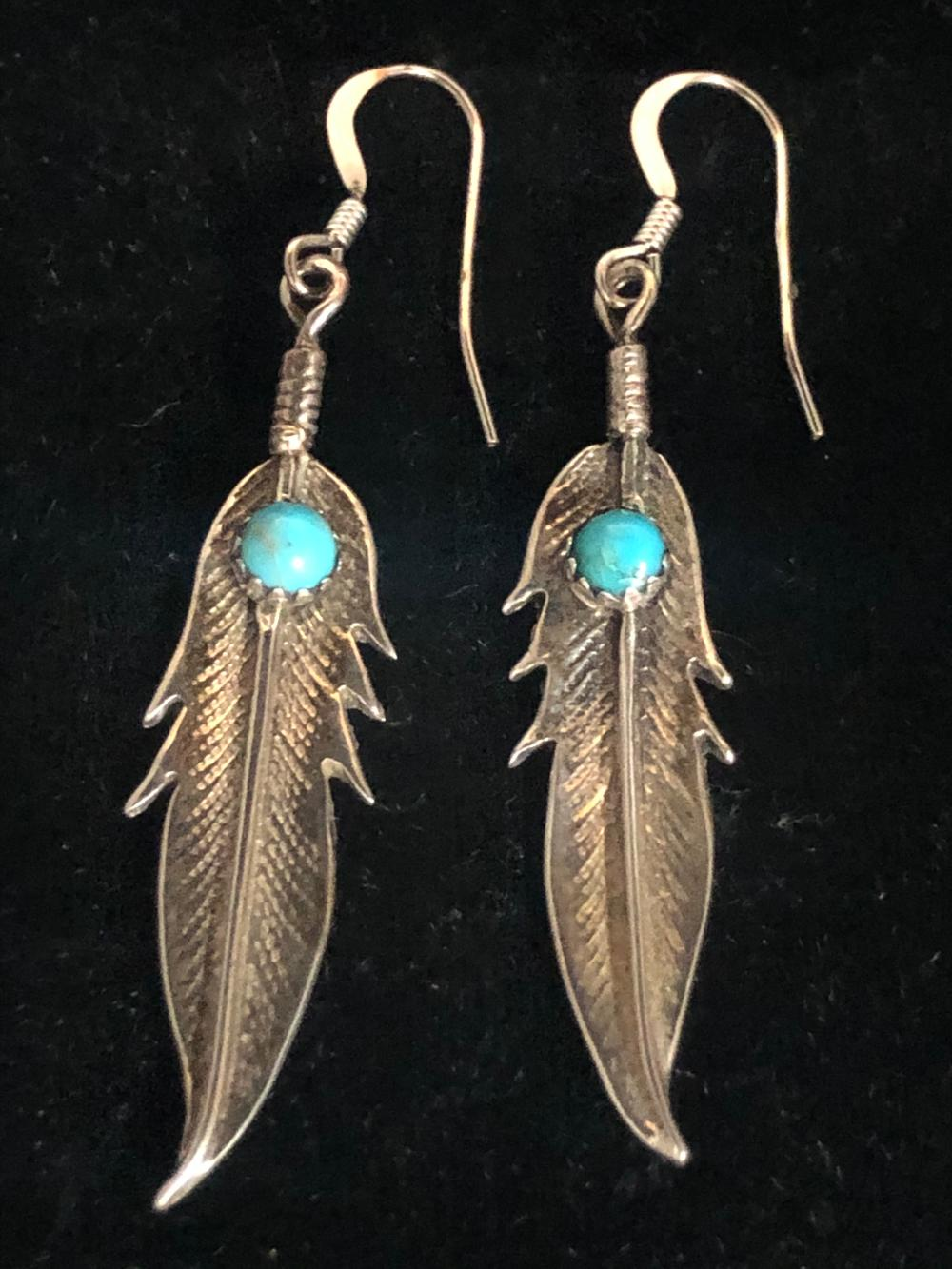 Feather sterling silver earrings with turquoise stone