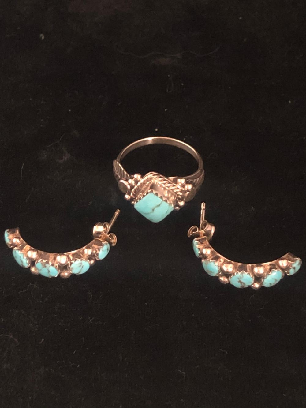 Turquoise ring and earrings 'set'