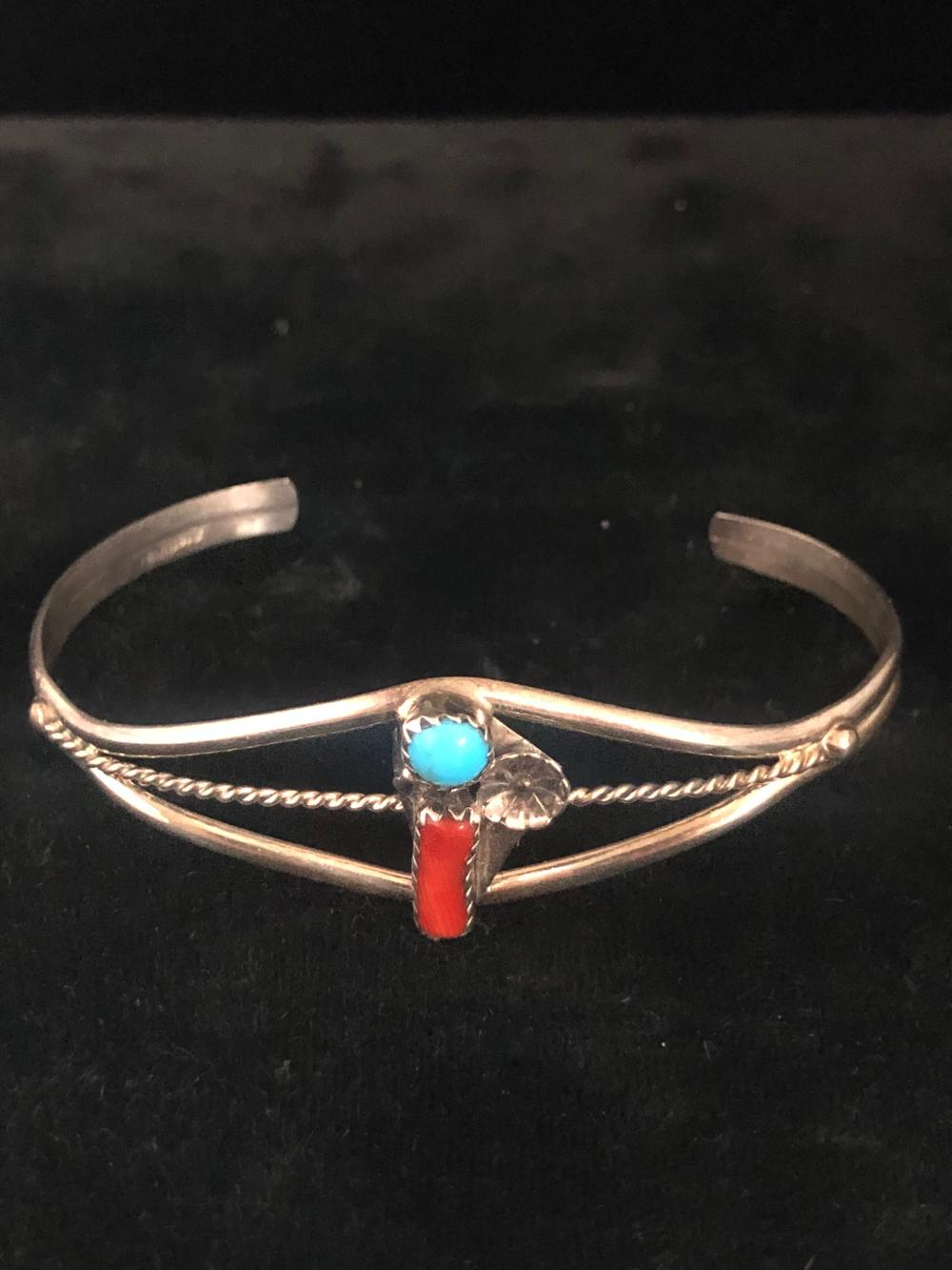 Turquoise and coral stone sterling silver cuff bracelet