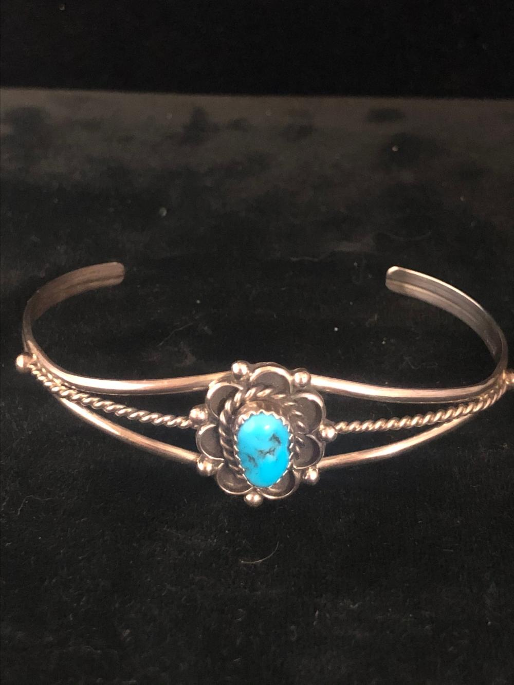 Turquoise stone sterling silver cuff bracelet