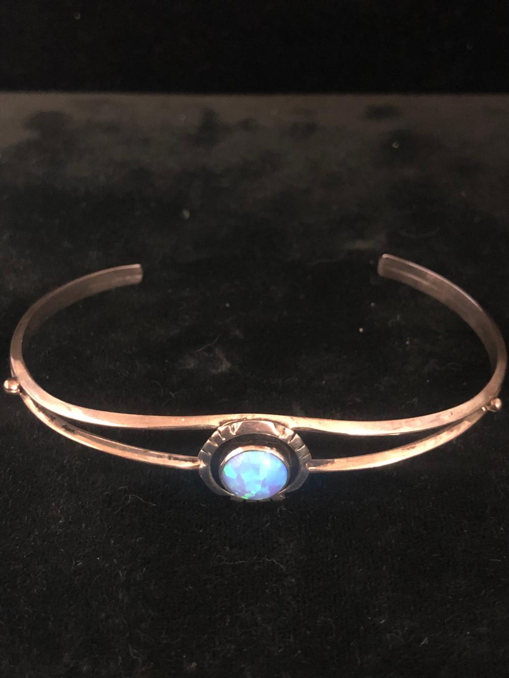Blue cultured opal stone sterling silver cuff bracelet