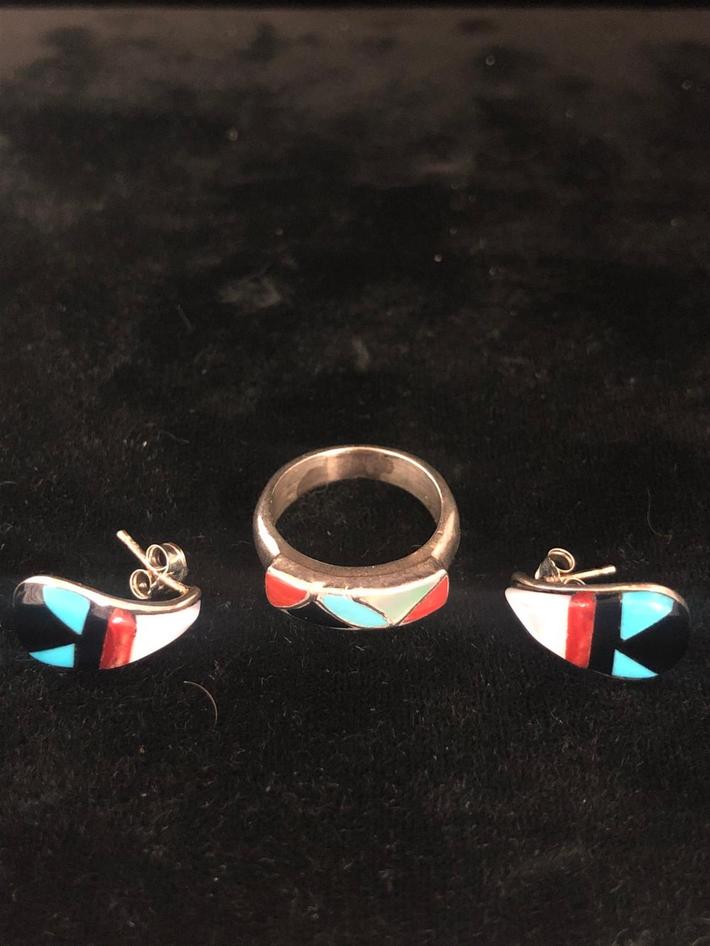 Multiple stone inlay sterling silver ring and earrings