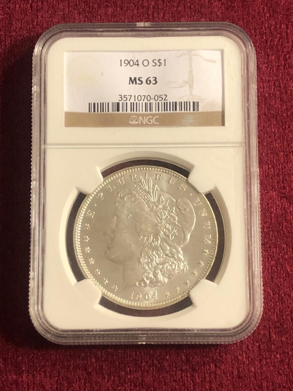 Graded 1904-O morgan silver dollar coin
