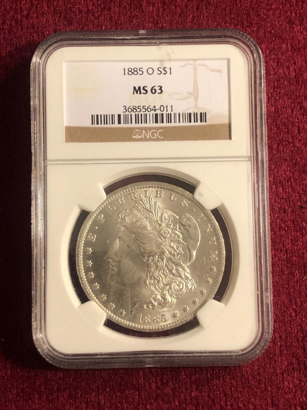 Graded 1885-O morgan silver dollar coin