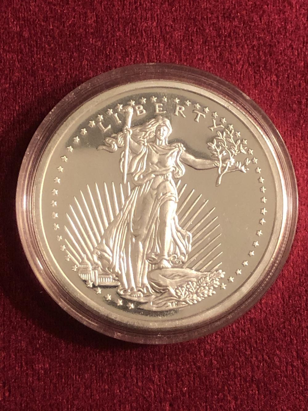 Five Troy ounce .999 fine silver round