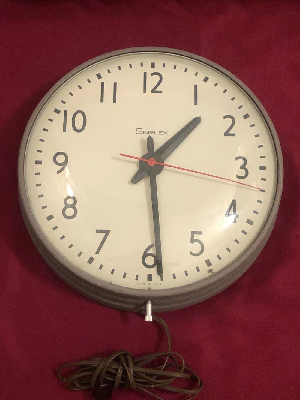 Vintage Simplex glass front school clock