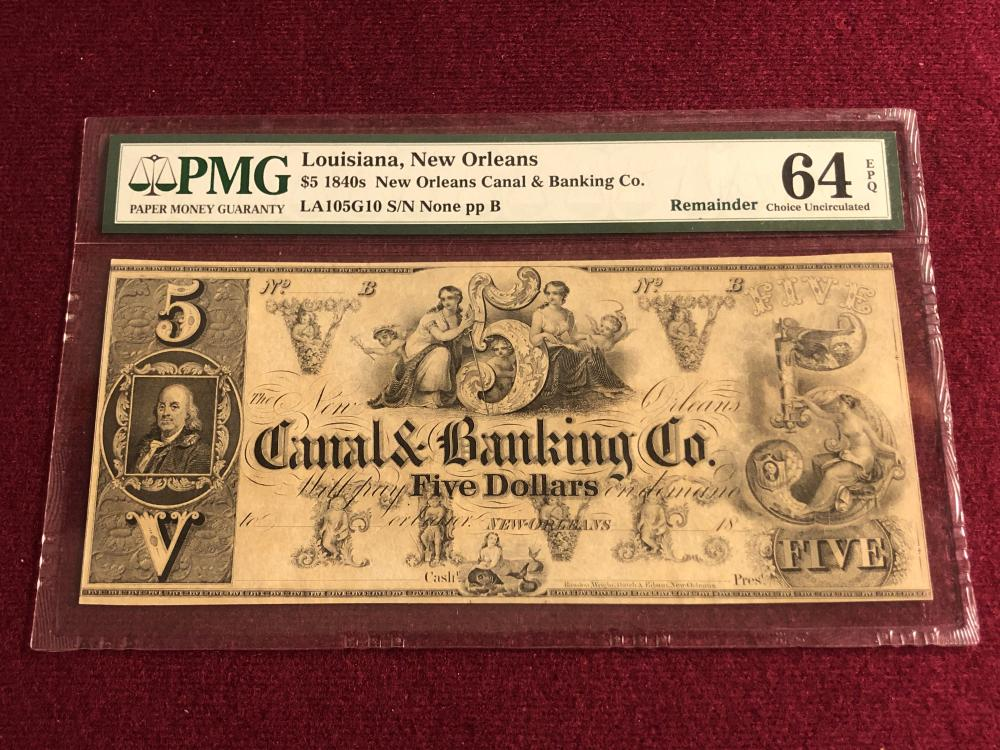Graded 1840's New Orleans five dollar bank note