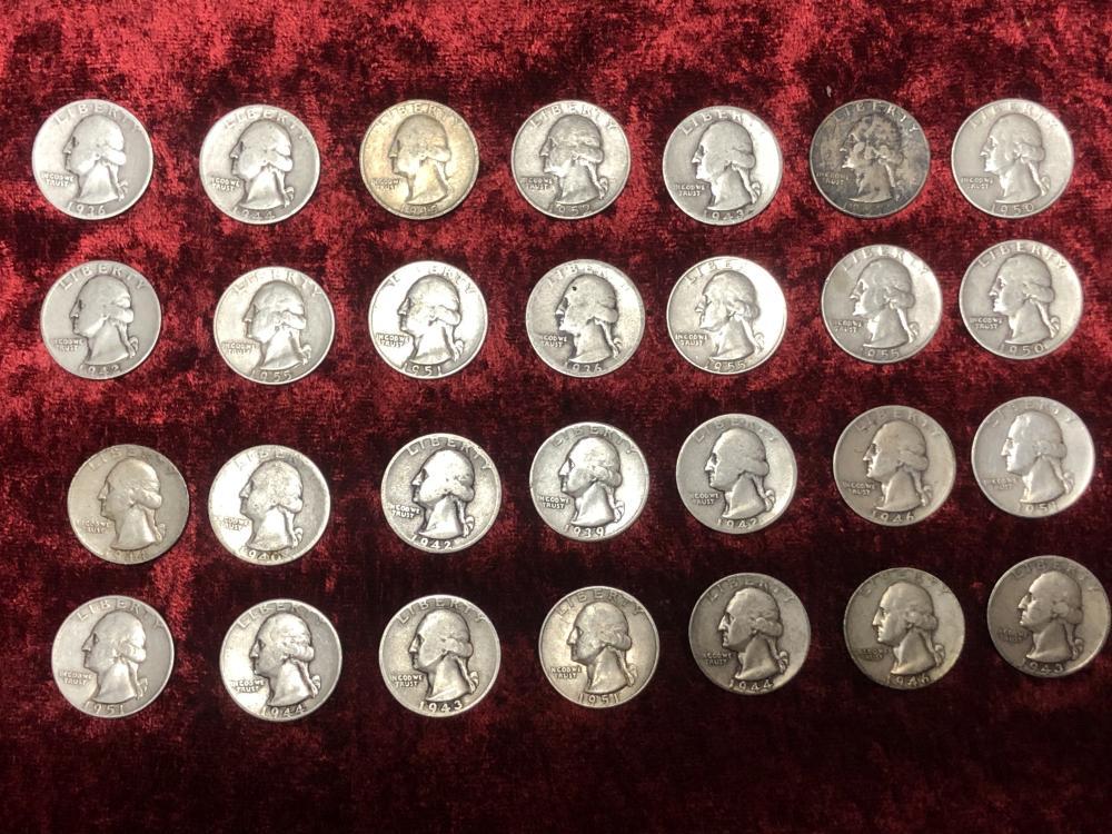 Twenty-eight silver quarters