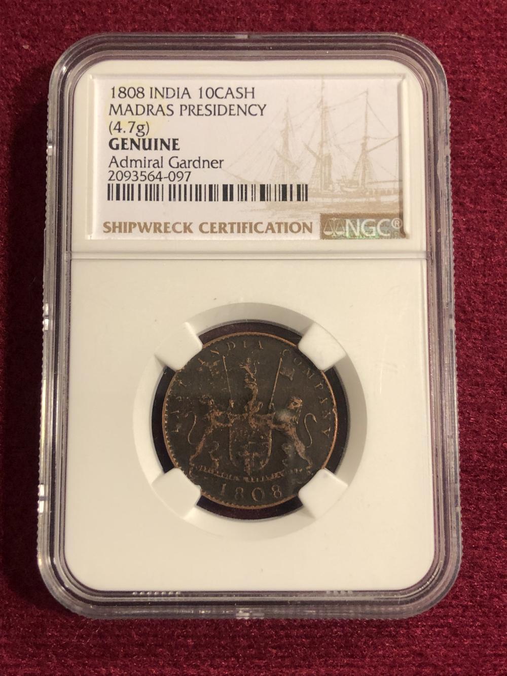 1808 India Ten Cash Shipwreck Coin