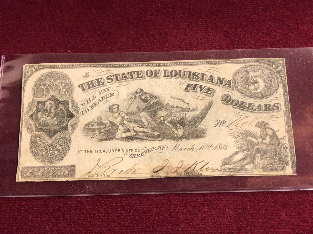 Louisiana Five Dollar Note