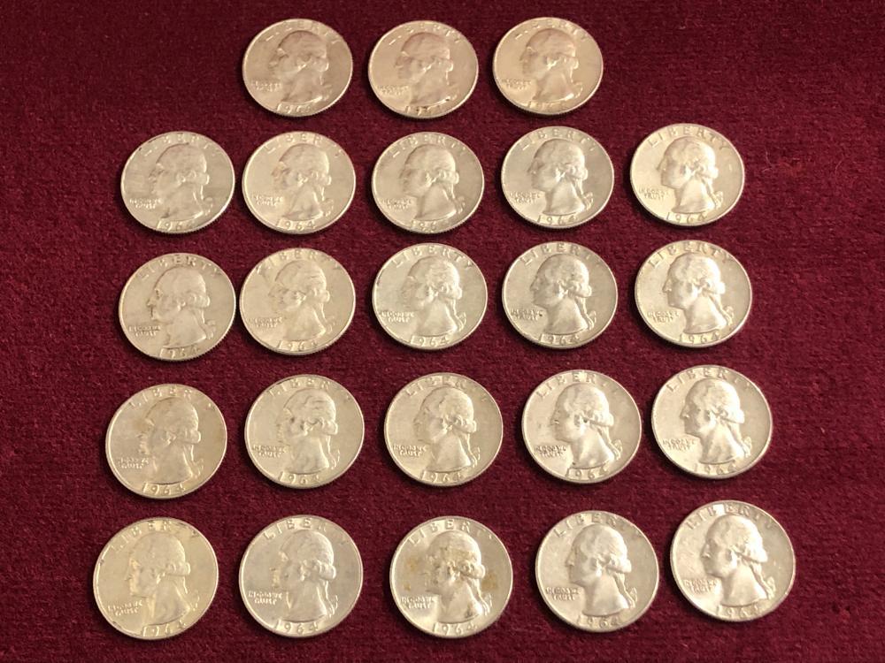 Twenty-Three 1964 Silver Washington Coins