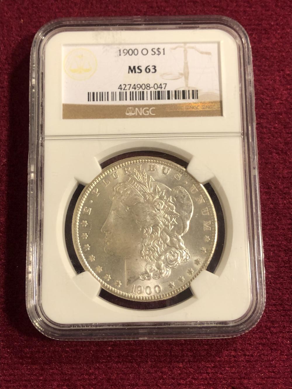 Graded 1900-O morgan silver dollar coin