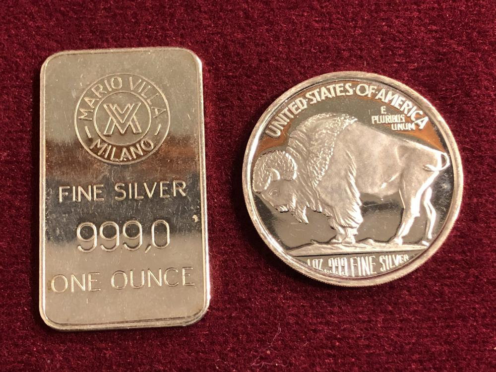 Two 1 oz Silver Pieces - Round & Bar