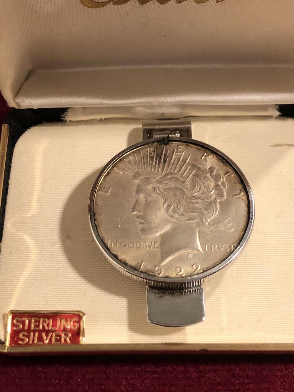 1922 peace silver dollar money clip