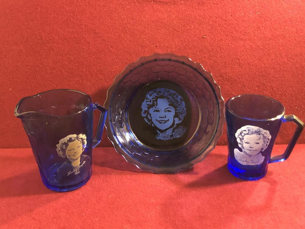 Cobalt blue Shirley Temple glass