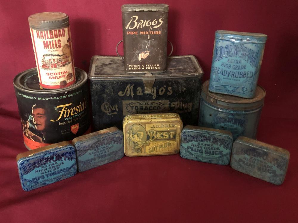 Vintage lot of tobacco tins - advertising