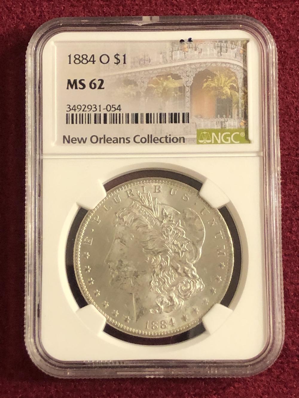 Graded 1884-O Morgan silver dollar