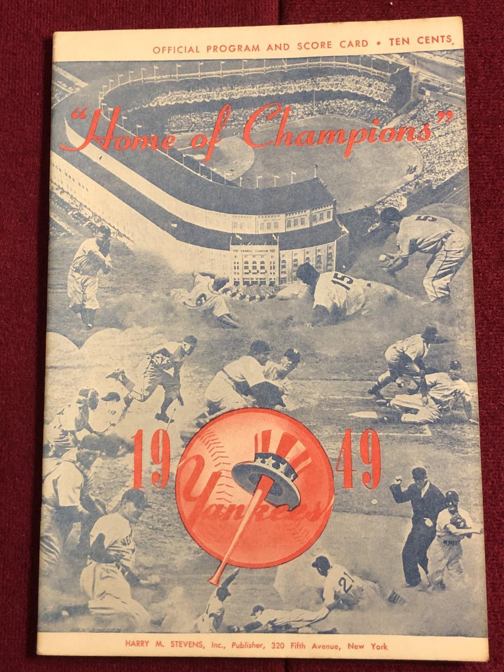 New York Yankees 1949 official program & scorecard