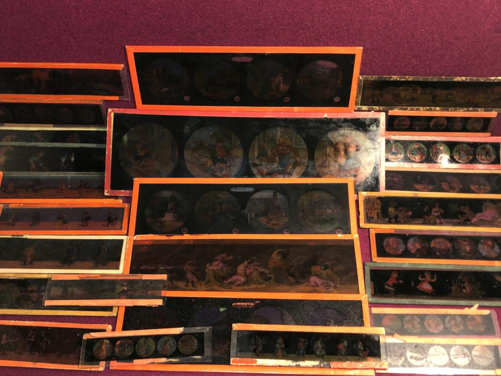 Several old magic lantern slides