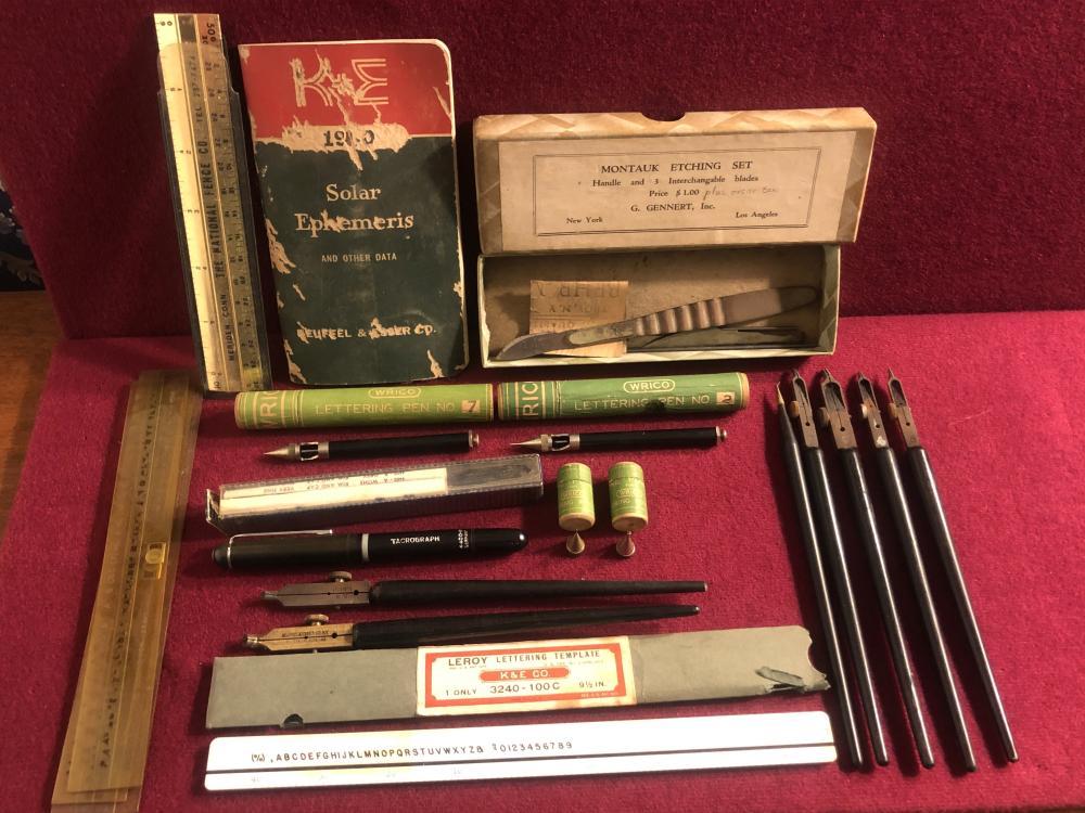 Vintage drafting, lettering, ruling pens, etc.