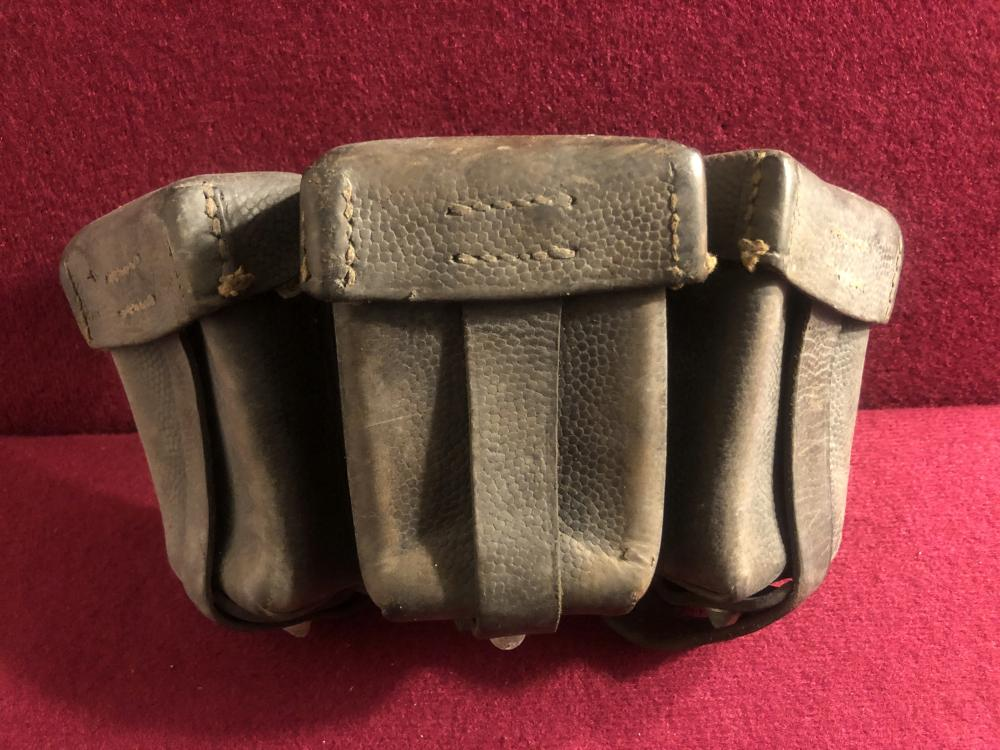 Three section German leather ammo pouch
