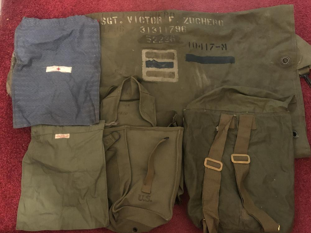 WWII military & Red Cross, etc. bags