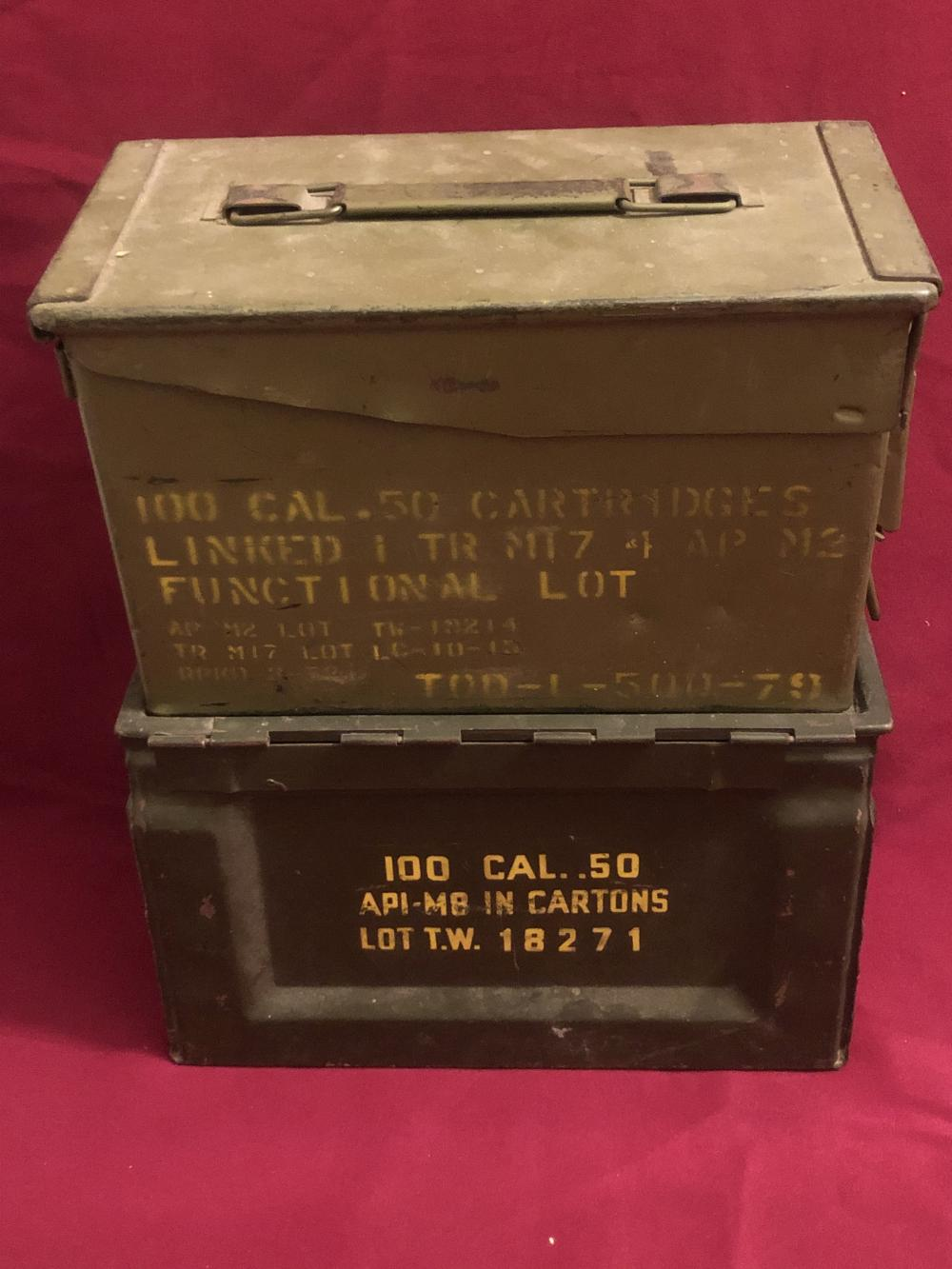 Two WWII metal 50 cal ammo boxes