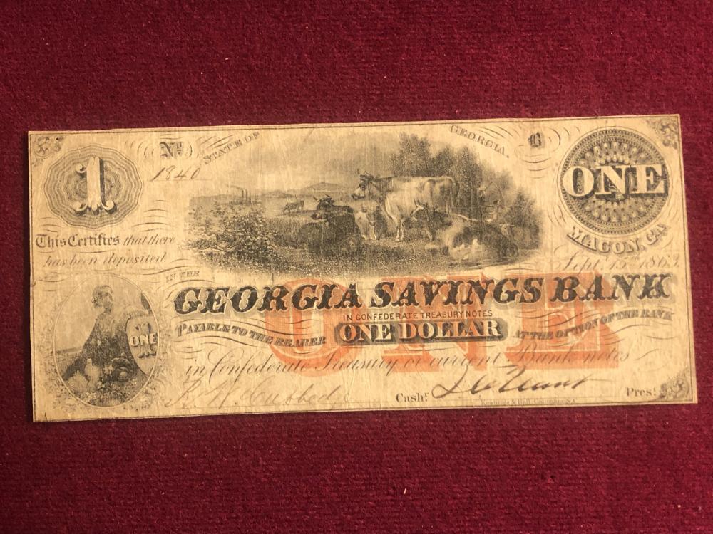 Georgia savings bank one dollar note