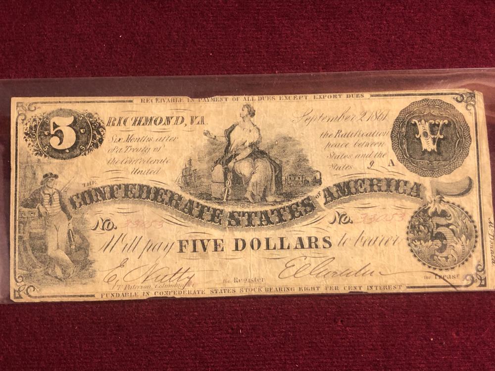 Richmond, VA Confederate five dollar note