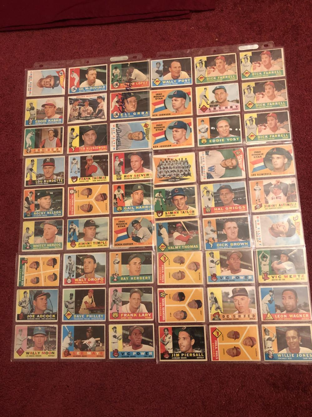 Fifty-four 1960 TOPPS baseball cards