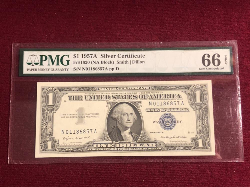 Graded 1957A one dollar silver certificate