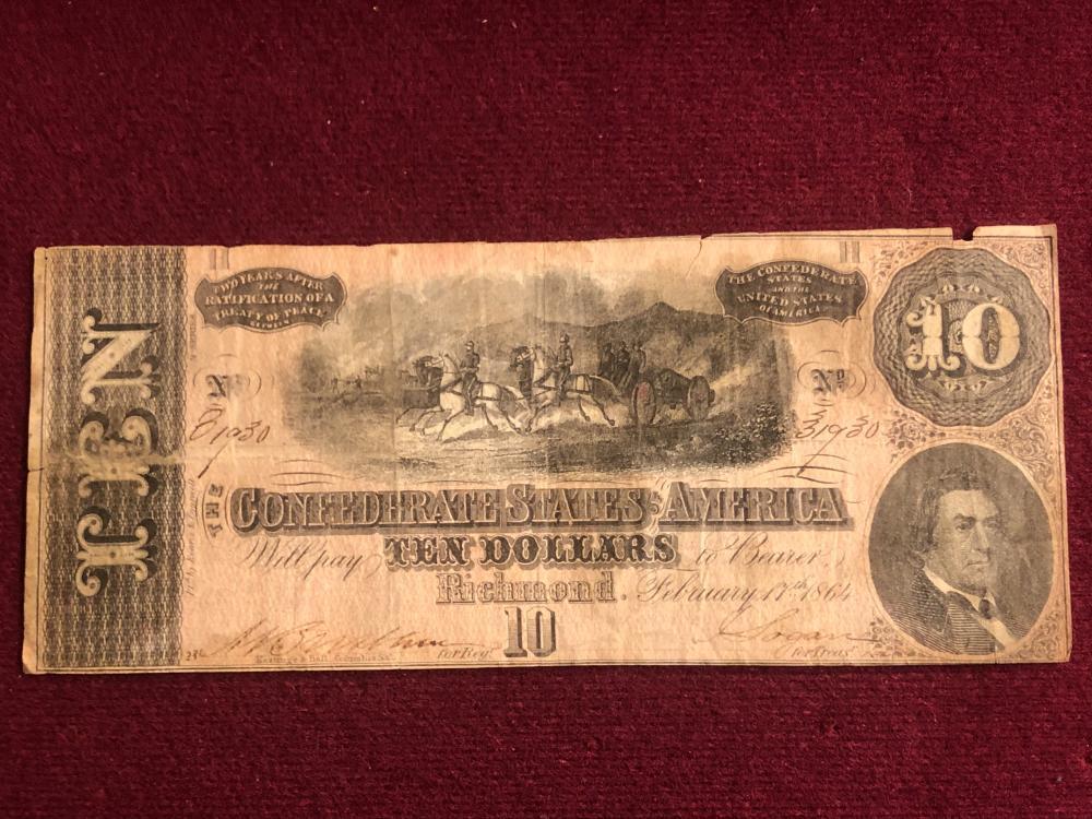 Confederate States of America 1864 ten dollar note