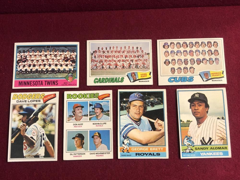 Seven vintage baseball cards