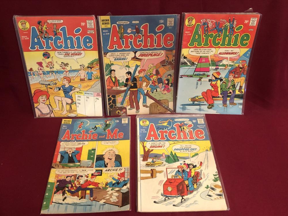 Five vintage Archie comic books 60's & 70's